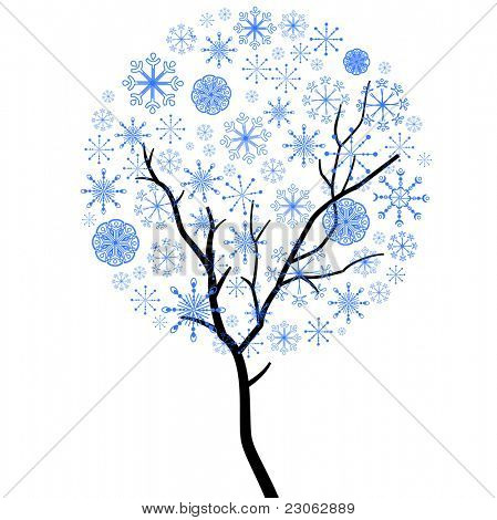 Christmas snowflake tree isolated on white background