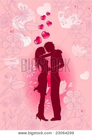Silhouette of kissing couple on pink ornate background. Raster version. Vector version is in my gallery.