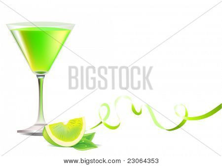 Glass of exotic lime cocktail and ribbon. Raster version. Vector version is in my gallery.