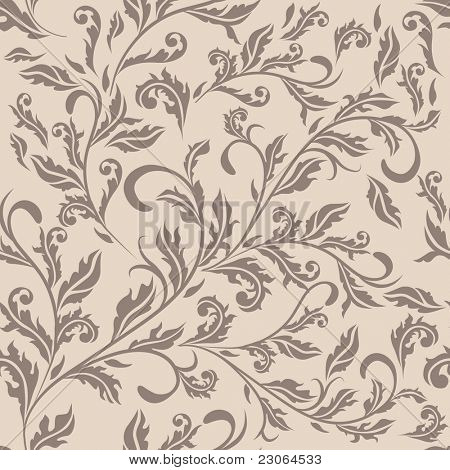 Seamless antique beige floral pattern. Raster version. Vector version is in my gallery.
