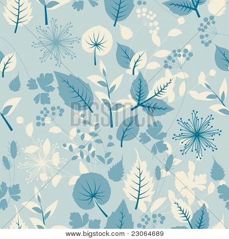 Seamless pastel  pattern with leaves. Raster version. Vector version is in my gallery.