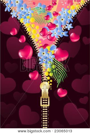 Floral spring background with zipper. Raster version. Vector version is in my gallery.