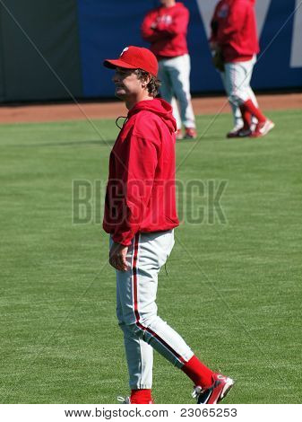Phillies Jamie Moyer Walks In The Outfield During Batting Practice