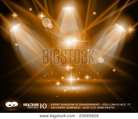Magic Spotlights with GOLD rays and glowing effect for people or product advertising