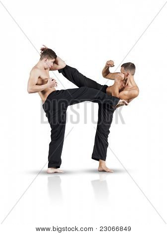 An image of two fighting men isolated on white background