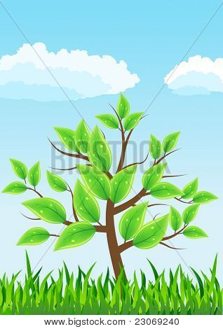 Stylized tree with green leaves. Raster version. Vector version is in my gallery.
