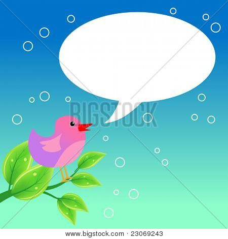Bird speaking with a speech bubble. Raster version. Vector version is in my gallery.