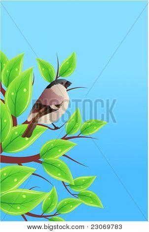 Kleiner Spatz auf Zweigen. Raster-Version.