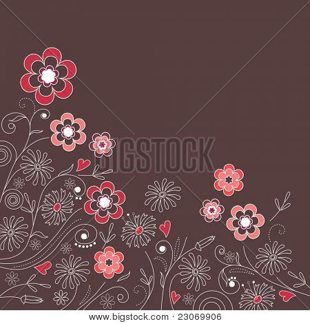 Floral dark grey background with pink flowers