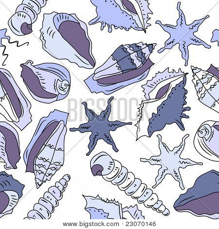 Seamless ocean pattern with different shells