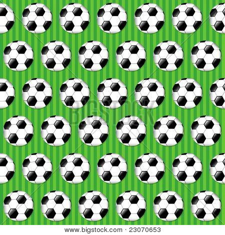 Seamless football pattern on striped grass background. Also available in vector format.