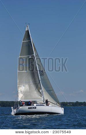 Sailboat Sailing On A Summer Day