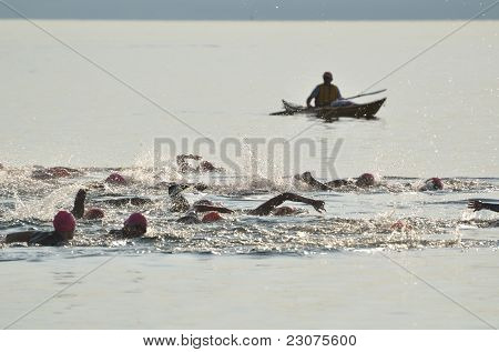 Start Of A Women's Open Water Swim Race