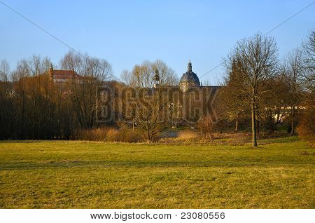 The View At The Dom (cathedral) And A Monastery On A Frauenberg From Aue Park In Fulda, Hessen, Germ