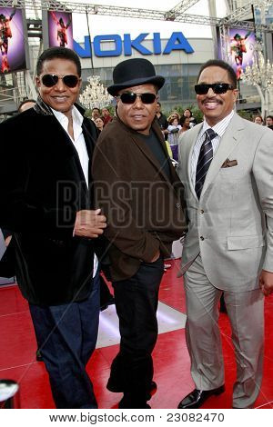 LOS ANGELES - OCT 27: Jackie Jackson, Tito Jackson and Marlon Jackson at the Los Angeles Premiere of 'This Is It' held at Nokia Theatre L.A. Live on October 27, 2009 in Los Angeles, California.