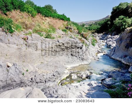 Riverbed Of River Alcantara, Sicily