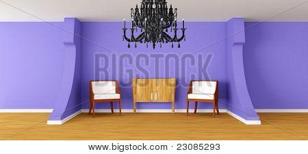 Modern room with black chandelier