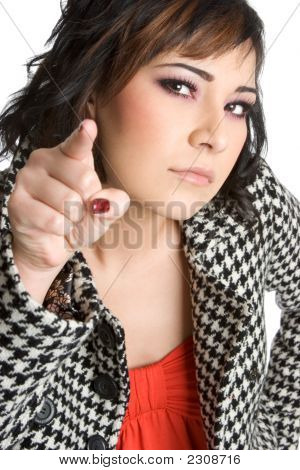 Businesswoman Pointing Finger