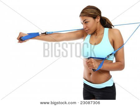 An active african american woman doing fitness exercise isolated
