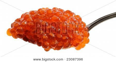 Spoon Of Red Caviar