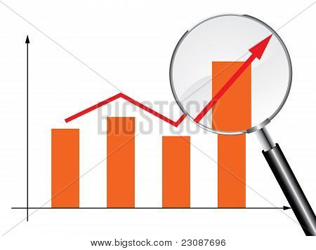 Magnifying glass graph vector
