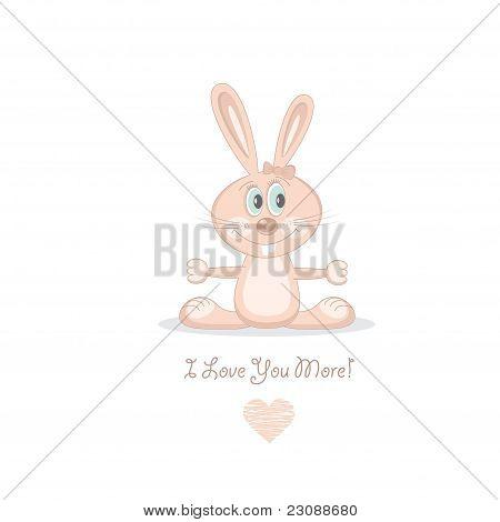 Pink love rabbit, vector illustration