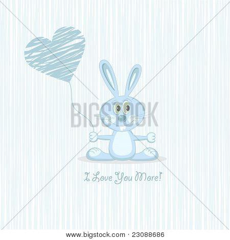 Blue love rabbit with heart (postcard), vector illustration