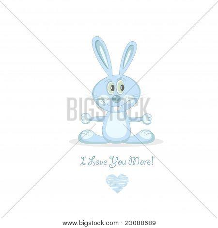 Blue love rabbit, vector illustration