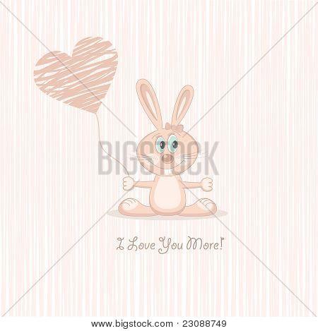 Pink love rabbit with heart (postcard), vector illustration