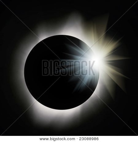 Sun Eclipse With Light Flare