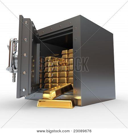 Stack Of Golden Ingots In Bank Vault