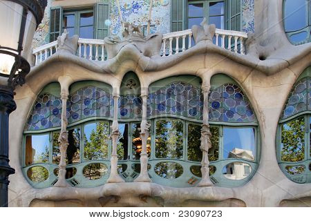 Glass of Casa Batllo by Gaudi - Barcelona