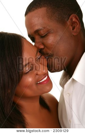 African American Couple Romantic Moment 2