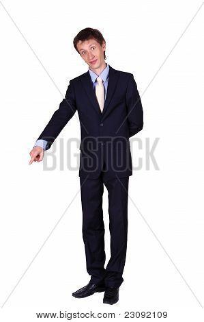 business man gesturing in studio