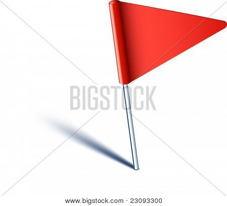 Vector illustration of red pin flag.