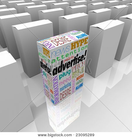 A box with words like Advertise, Marketing, Buzz, Hype, Attention, Publicity and more aims to draw attention of customers and stand out from competing products