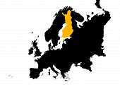 Europe With Highlighted Finland Map poster