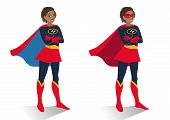 African American Superhero Woman In  Costume And Mask Standing With Crossed Arms. Vector Cartoon Cha poster