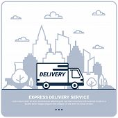 City Delivery Concept. Thin Line Styled Delivery Truck. Delivery Service Shipping By Car Or Truck. O poster
