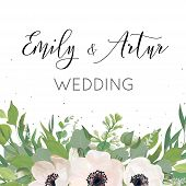 Vector Floral Wedding Invite, Invitation, Save The Date Card Design With Watercolor Mauve Pink Anemo poster