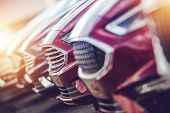 Automotive Industry Car Dealer Stock Closeup Photo. Modern Brand New Vehicles For Sale. poster