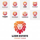Tiger Head Logo With Beautiful Animal. Vector Hand Drawn Lion Face Illustration. Ancient Guard Ornat poster