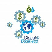Global Business Creative Logo, Unique Vector Symbol Created With Different Elements. Global Financia poster
