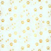 Gold Paw Print Seamless Pattern. Seamless Pattern Of Animal Gold Footprints. Dog Paw Print Seamless  poster