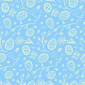 Cute Doodle Blue Happy Easter Seamless Pattern With White Outline Eggs, Flowers, Lines And Dots. Ten poster