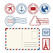 Post Stamps, Post Marks And Post Mail Collection. Vector Design Elements poster