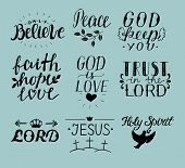Set Of 9 Hand Lettering Christian Quotes Jesus. Holy Spirit. Trust The Lord. Peace. Only Believe. Fa poster
