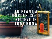 Motivational And Inspirational Quotes Quotes - To Plant A Garden Is To Believe In Tomorrow. With Blu poster