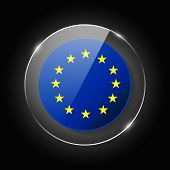 European Union Flag. Application Language Symbol. Country Of Manufacture Icon. Round Glossy Isolated poster