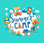 Summer Camp Concept With Handdrawn Lettering, Camping And Travelling On Holiday With Different Equip poster